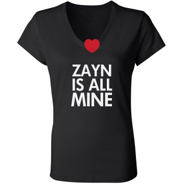 My BF Zayne Is Mine Junior Fit Bella Long Sleeve Sheer Longer Length Rib V-Neck Tee