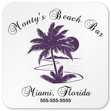 Monty Beach Bar Business Square Sandstone Soaker Coaster
