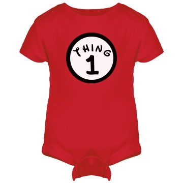 Thing 1 Onesie Infant Rabbit Skins Lap Shoulder Creeper