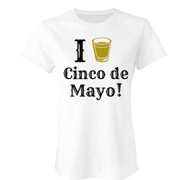I Heart Cinco de Mayo Junior Fit Bella Sheer Longer Length Rib Tee