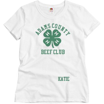 4-H Fair Beef Club Misses Relaxed Fit Basic Gildan Ultra Cotton Tee