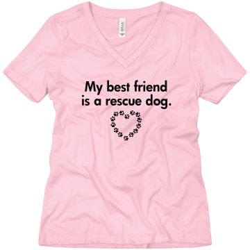 My Best Friend Rescue Dog Misses Relaxed Fit Anvil V-Neck Tee