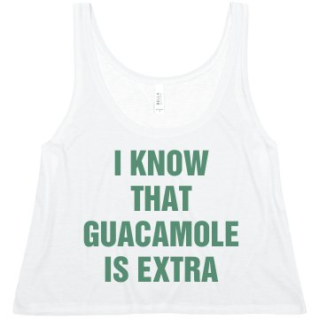 I Know That Guacamole... Misses Bella Flowy Boxy Lightweight Crop Tank