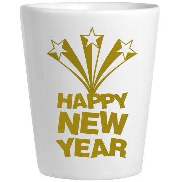 Happy New Year Shot Glass Ceramic Shotglass