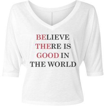 Be The Good  Misses Bella Flowy V-Neck Half-Sleeve Tee