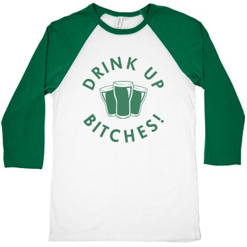 Drink Up Patty Bitches Junior Fit Bella 1x1 Rib Cap Sleeve Raglan Tee
