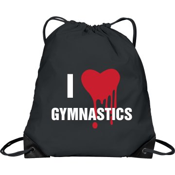 I Love Gymnastics Port &amp; Company Drawstring Cinch Bag