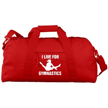 I Live For Gymnastics Port &amp; Company Large Square Duffel Bag