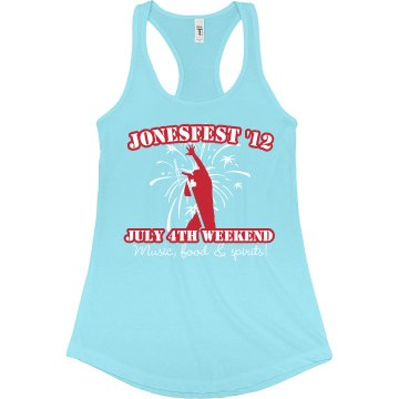 Jonesfest July 4th Tank Junior Fit Bella Sheer Longer Length Rib Racerback Tank Top