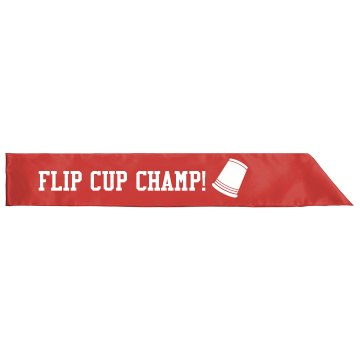 Flip Cup Champ Sash Adult Satin Party Sash