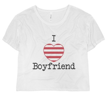 I Heart My Boyfriend Misses Bella Flowy Boxy Lightweight Crop Tee