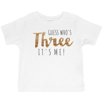 I'm Three Toddler Basic Gildan Ultra Cotton Crew Neck Tee