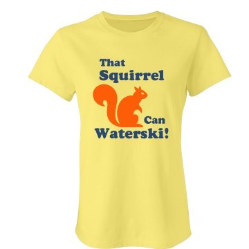 That Squirrel Waterski! Junior Fit Bella Crewneck Jersey Tee