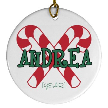 Candy Cane Ornament Porcelain Circle Ornament