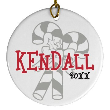 Kendall Candy Cane Plastic Ball Ornament