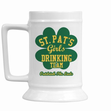 St. Patty Lassie Team 28oz Gold Trim Ceramic Stein
