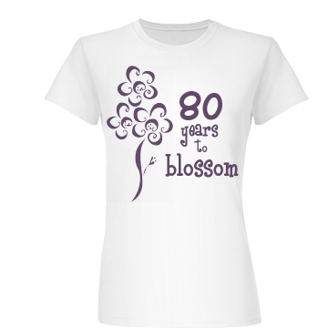 80 Years To Blossom Junior Fit Basic Bella Favorite Tee