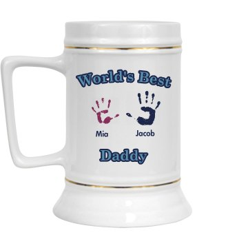 Best Daddy Stein 28oz Gold Trim Ceramic Stein