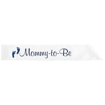 Blue Mommy-To-Be Adult Satin Party Sash