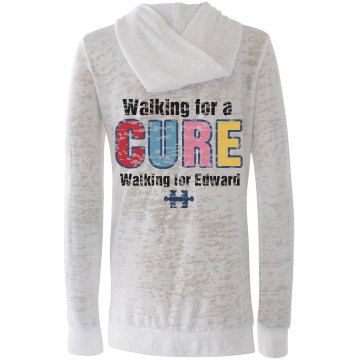 Autism Walk w/ Back Alo Women's Long Sleeve 1/2 Zip Hoodie