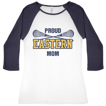 Proud Lacrosse Mom Junior Fit Bella 1x1 Rib 3&#x2F;4 Sleeve Raglan Tee