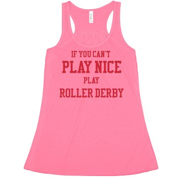 Play Nice Roller Derby Misses American Apparel Neon Oversized Crop Tank