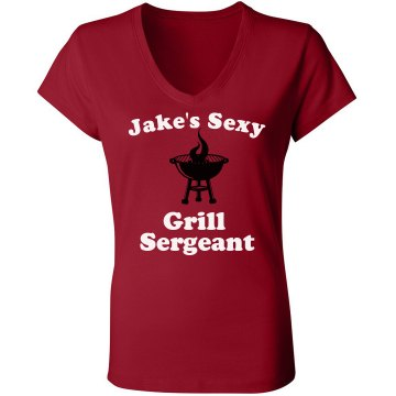 Jake's Grill Sergeant Junior Fit Bella Sheer Longer Length Rib V-Neck Tee
