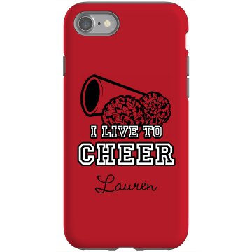 I Live To Cheer iPhone Rubber iPhone 4 &amp; 4S Case Black