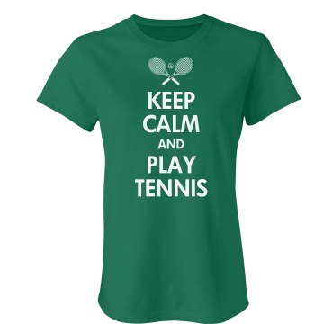 Keep Calm & Play Tennis Junior Fit Bella Crewneck Jersey Tee