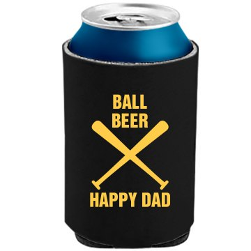 Ball Beer Happy Dad The Official KOOZIE Can Kooler