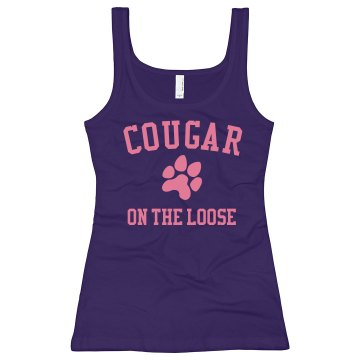 Cougar on the Loose Junior Fit Bella Longer Length 1x1 Rib Tank Top