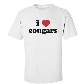 I Love Cougars Unisex Gildan Heavy Cotton Crew Neck Tee
