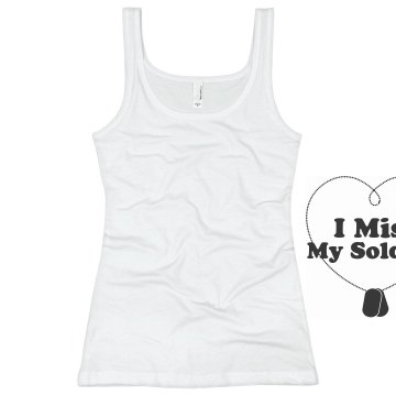 My Soldier Dog tag heart Junior Fit Basic Bella 2x1 Rib Tank Top