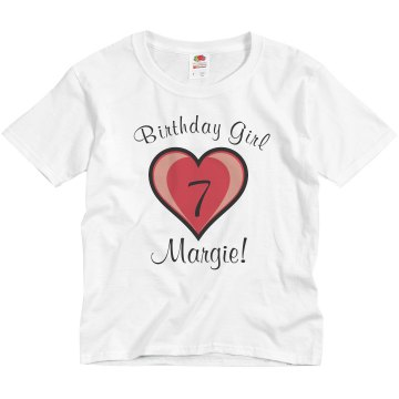 7th Birthday Shirt Youth Bella Girl 1x1 Rib Cap Sleeve Tee