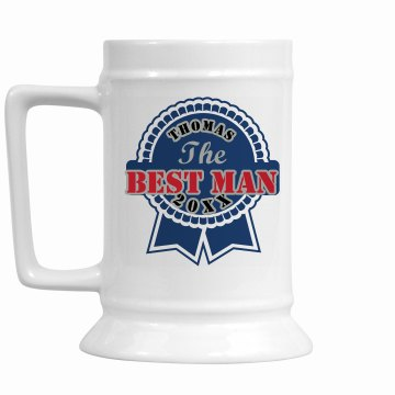 The Best Man Mug 28oz Gold Trim Ceramic Stein