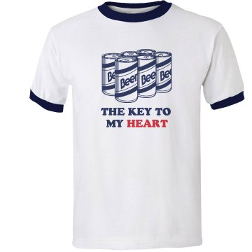 The Key To My Heart Unisex Anvil Ringer Tee