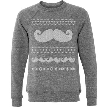 Mustache Long Sleeve  Unisex Canvas Triblend Crew