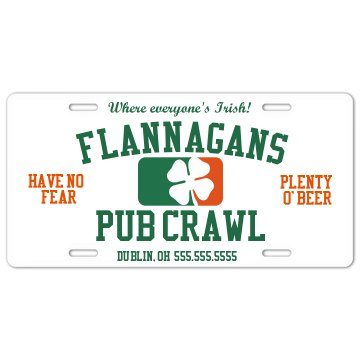 Pub Crawl License License Plate