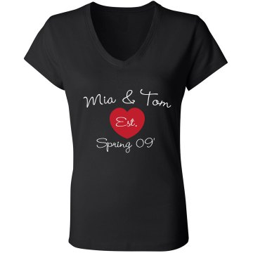 Mia & Tom Est. Spring 09 Junior Fit Bella V-Neck Jersey Tee