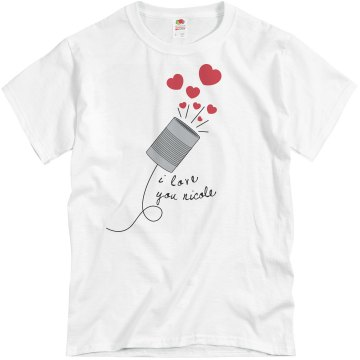 String Can Phone Love Him Unisex Basic Gildan Heavy Cotton Crew Neck Tee