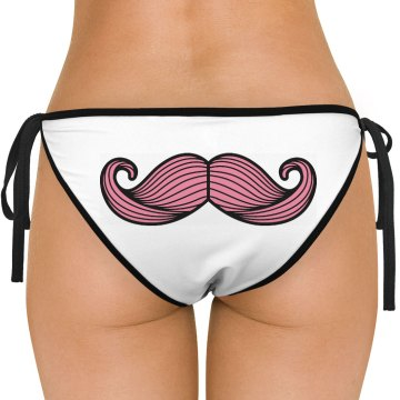 Buttstache Mustache American Apparel Nylon Tricot Side-Tie Bikini Swimsuit Bottom