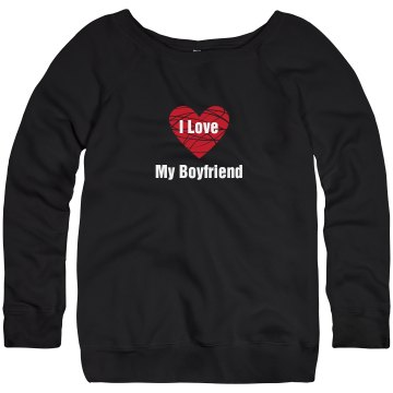 Love My Boyfriend Junior Fit Bella Triblend Slouchy Wideneck Sweatshirt
