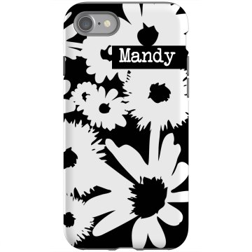 Custom Floral iPhone Case Rubber iPhone 4 & 4S Case Black