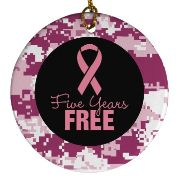 Five Years Cancer Free Porcelain Circle Ornament