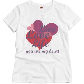 Live Love Life Misses Relaxed Fit Basic Gildan Heavy Cotton Tee
