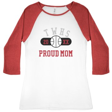 TWHS Basketball Mom  Junior Fit Bella 1x1 Rib 3/4 Sleeve Raglan Tee