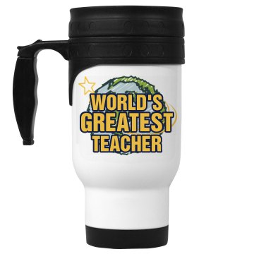 World's Greatest Teacher 14oz White Stainless Steel Travel Mug