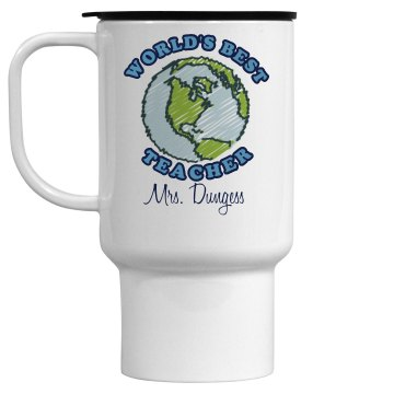 World's Best Teacher Mug 28oz Gold Trim Ceramic Stein