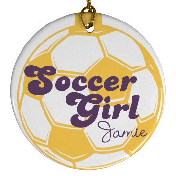 Soccer Girl Ornament Plastic Ball Ornament