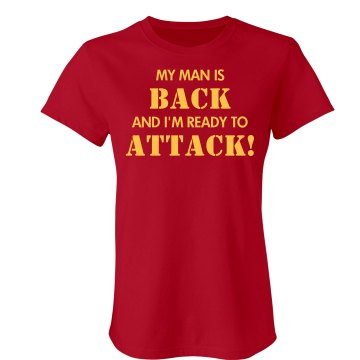 My Man Is Back w/ Back Junior Fit Bella Sheer Longer Length Rib V-Neck Tee